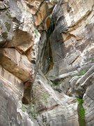 Rock Climbing Photo: Lori C. on the last rappel in Ice Cube Canyon.