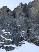 Rock Climbing Photo: A view of the route from below. The line starts on...