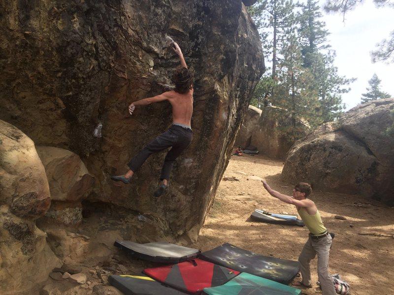 Rock Climbing Photo: Matt Holt hucks for the bucket. (photo: alex bury)
