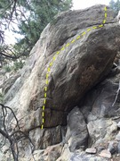 Rock Climbing Photo: Starting on lowest jug rail, head up and right.
