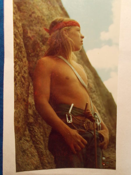 Rock Climbing Photo: Chris Hodge @ Osiris, 1973. The route was his idea...
