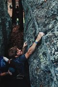 Rock Climbing Photo: Dave Masom working on butterfly at the triple crow...