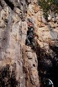 Rock Climbing Photo: Jeff on the pillar at start.