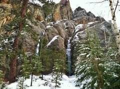 Rock Climbing Photo: The icicle on the left and The shaft on the right.