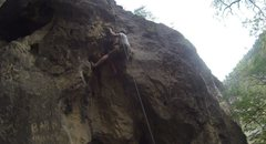 Rock Climbing Photo: Awkward moves define the first half of Planet Jane...
