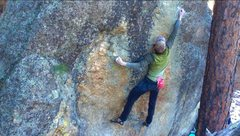 Rock Climbing Photo: First big move
