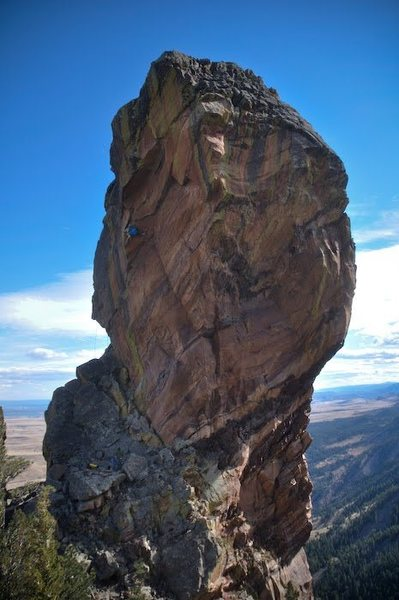 "From Matt Wilder's blog post on his FA: ""Working the crux on TR (this view doesn't show the angle of the wall well)."""