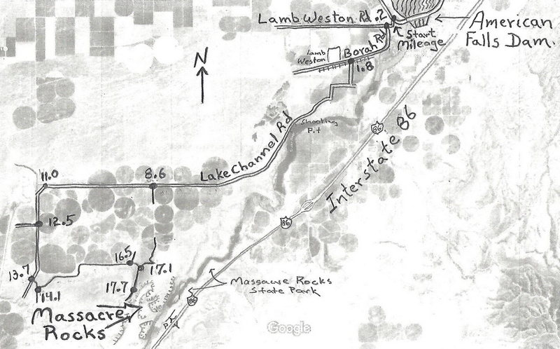 Driving directions map from American Falls Reservoir Dam to the west rim parking at Massacre Rocks