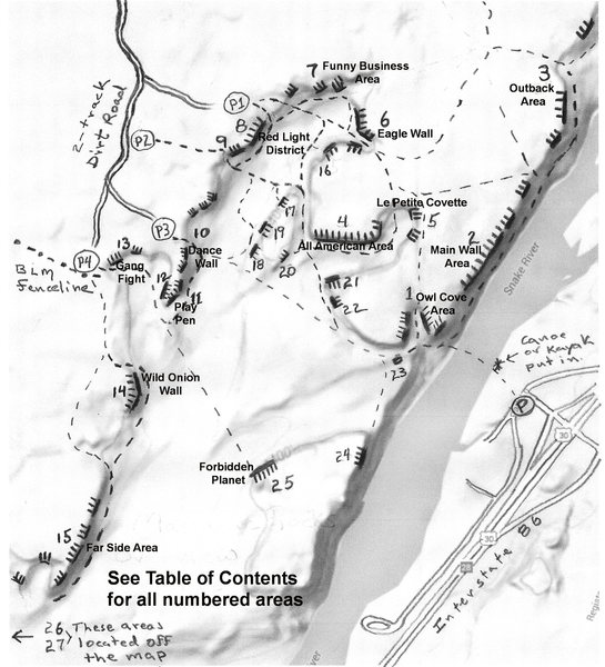 Rock Climbing Photo: Overview map of Massacre Rocks and locations of ma...