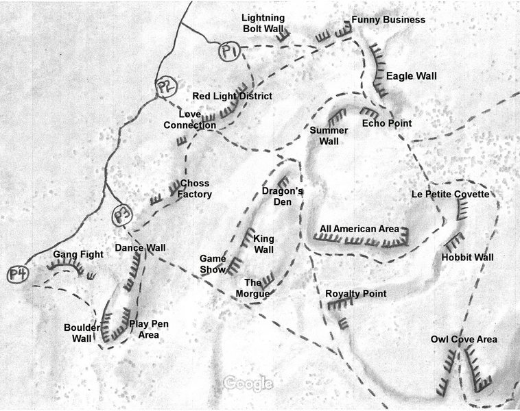 More detailed map of some of Massacre Rocks including parking locations, access trails, and popular walls. See the online guide for more info.