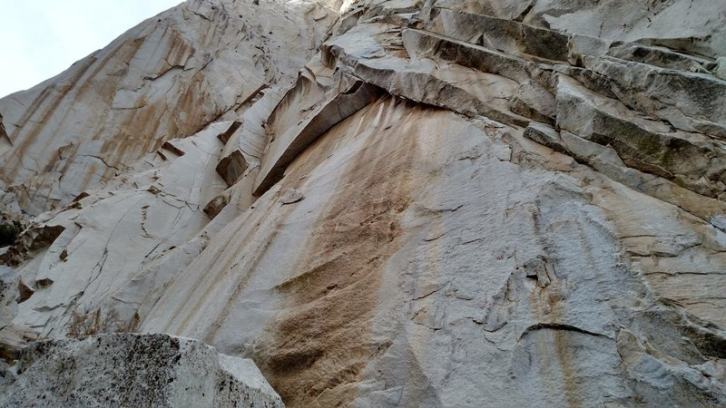 Rock Climbing Photo: streaked slab in the lower middle