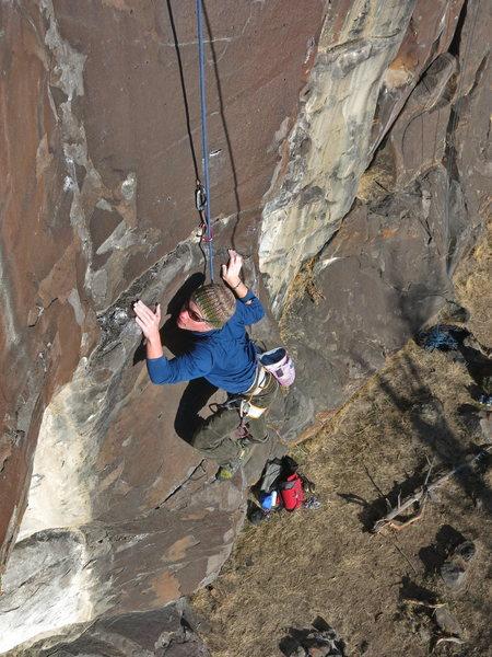 Rock Climbing Photo: Tevis Vitale on Little Big Man.  Not quite as bloc...