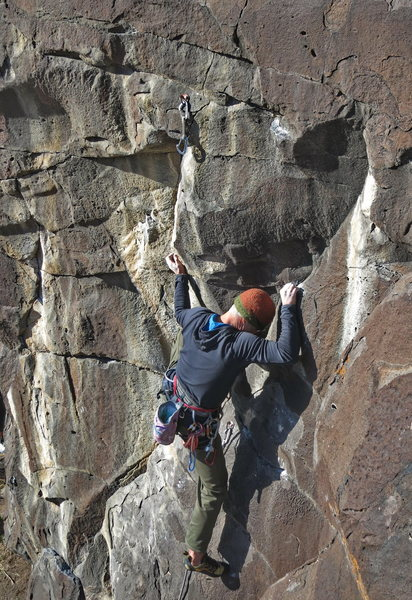 Nick Vitale, on the thin crux of Coyote Bait, 11b (Nov 2013).