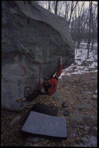 Rock Climbing Photo: Tim Kemple working the project long ago.