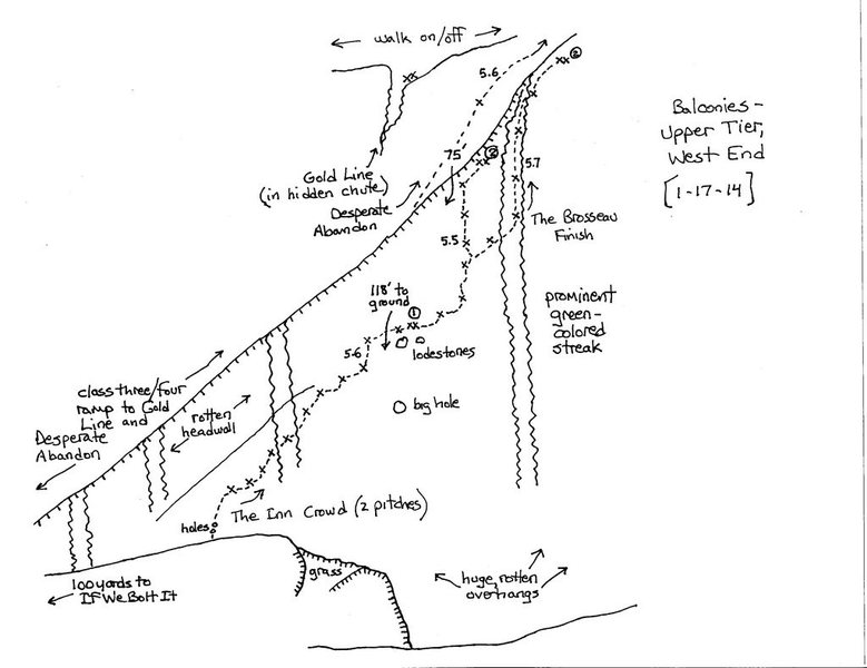 Topo map of the Upper Tier-West End. The big hole can be seen from the parking lot. <br> Credits: Brad Young