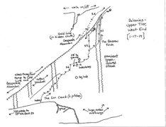 Rock Climbing Photo: Topo map of the Upper Tier-West End. The big hole ...