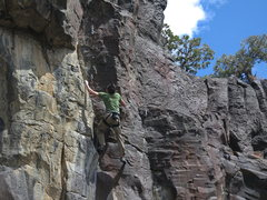 Rock Climbing Photo: Dusty Pena,Run for the Border, 11b (April 2014)