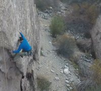 Rock Climbing Photo: Chad Parker on the crux of Spike The Punch