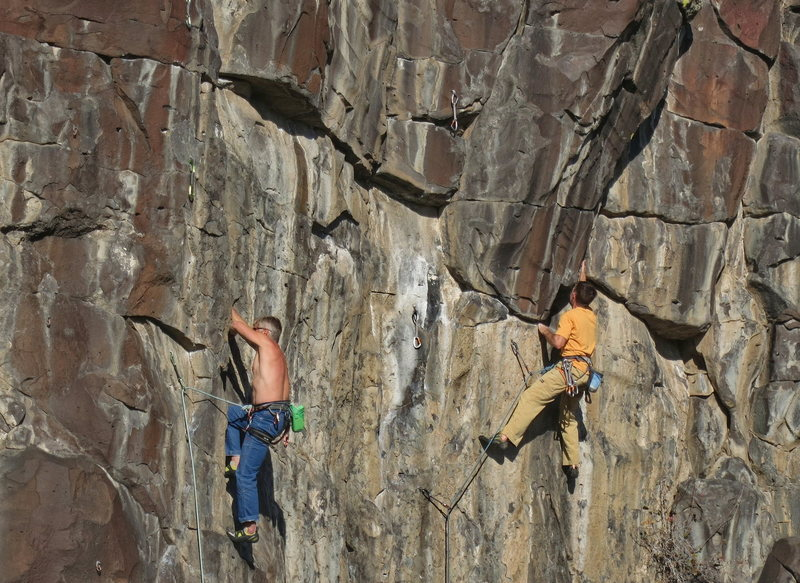 All American Wall in November, 2015.  Nick Vitale, on the left, is on Pretty Woman (5.11A) and Troy Neu is on Miss American Pie (5.12A)