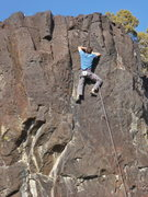 Rock Climbing Photo: Mike Engle trying to clip the top anchors on the e...