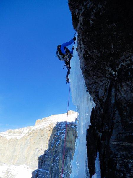 Rock Climbing Photo: P3, crux. Photo: Nate Erickson