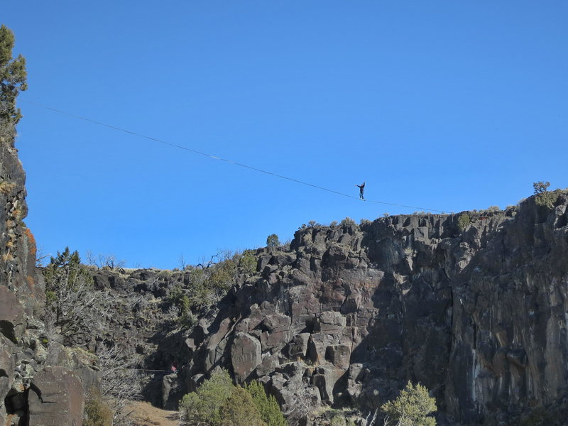 Huge 200+ foot slackline set up in the Owl Cove by the Idaho Falls crew.  (Mar 2014)