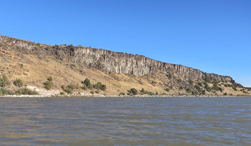 200' Main Wall as seen during the Snake River crossing.  The Main Wall is easily visible from Interstate 86 while passing by Massacre Rocks State Park