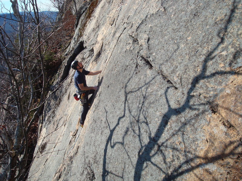 Shane works his way up the initial crack section of Stand Your Ground