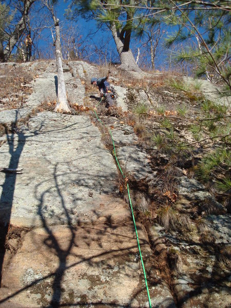 Tom on the FA of pitch 2. Yep, this is what it is like to put up new routes on-sight in the Adirondacks.