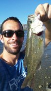 Fishing large mouth bass at La Presa reservoir near Torreon, Mexico after climbing.