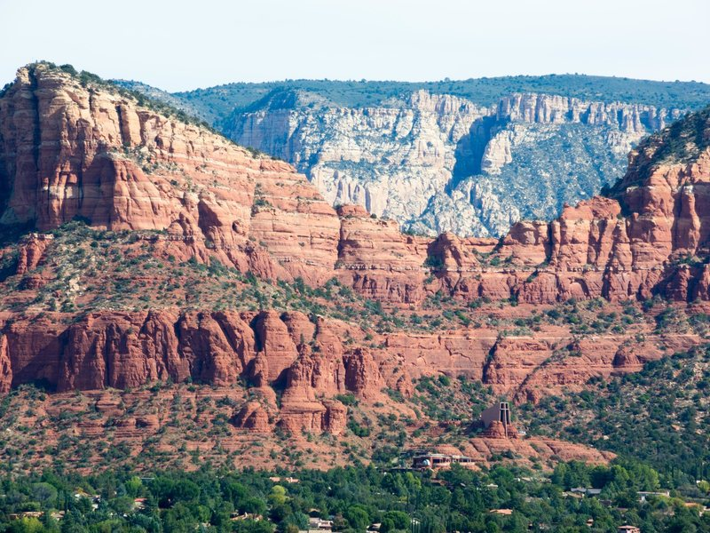 View from Cathedral rock area.  You can see the iconic church and the tiered sandstone with routes all over it.