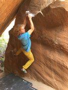 Rock Climbing Photo: Sean at the 1/2 way point.
