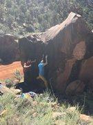 Rock Climbing Photo: Sean maneuvering upward.