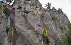 Rock Climbing Photo: Funny Business Wall Left Side.  Chris Barnes leadi...