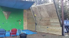 Rock Climbing Photo: Next sections of plywood went up today. Not too di...