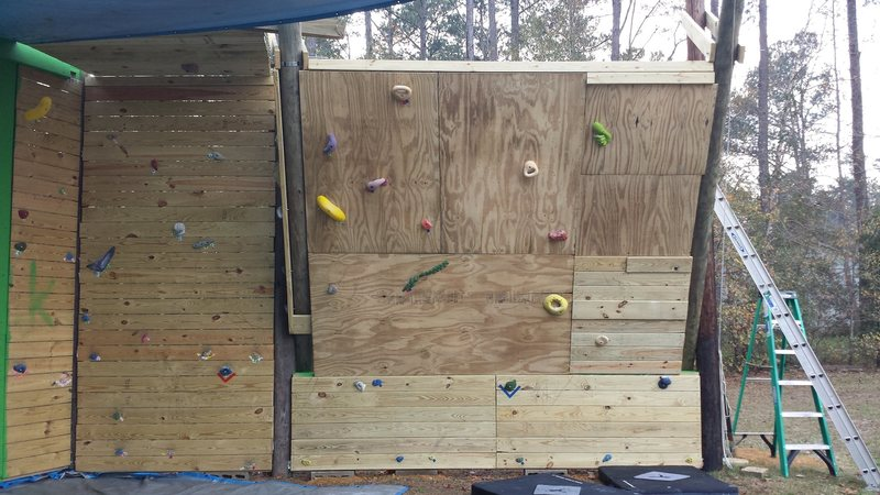 Some new routes went up today. This completes phase II of my backyard wall.<br> Going to take a winter break from construction to snowboard and do some climbing on some real rock.<br> See you in the spring when phase III, the cave, starts.