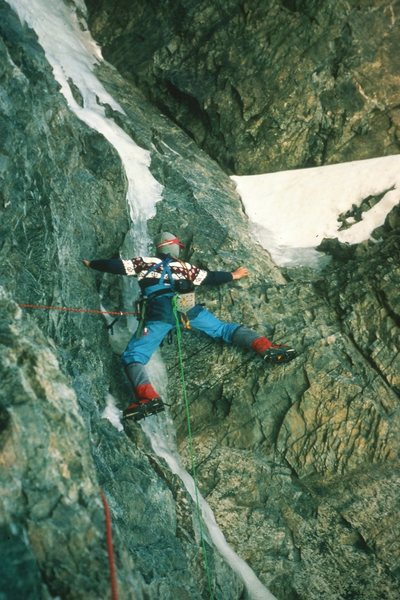 On the lower third of the crux pitch. Black Dike type mixed climbing at 17,000 feet.