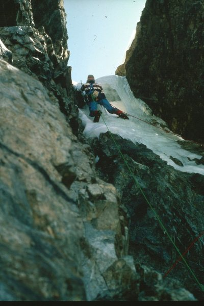 Nearing the top of the crux pitch.