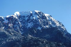 Rock Climbing Photo: Topo of the S Face of Pico La Reina with the huge ...