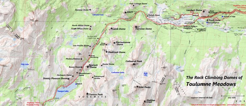 Tuolumne Meadows Climber's Map