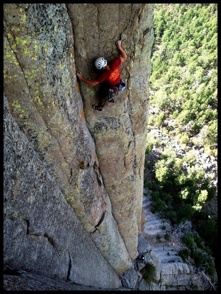 Rock Climbing Photo: Crack Connoisseur Sean Nelb, Surfing the Girl! Yea...