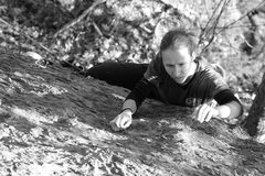 Rock Climbing Photo: Torie pulling the crux move which she is calling 5...