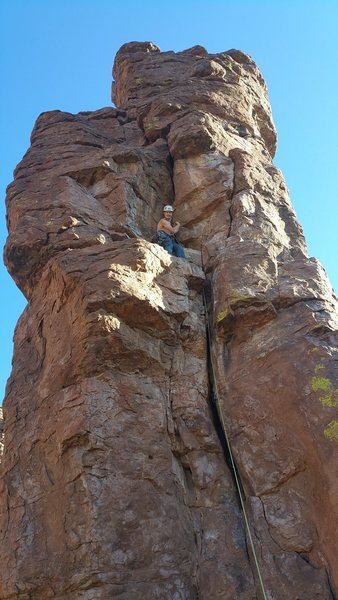 Rock Climbing Photo:  OW variation on p3 protects with medium sized cam...