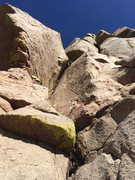 Rock Climbing Photo: Brian at the top of the pitch before traversing ri...