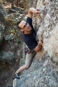 Rock Climbing Photo: Getting friendly with the crystals entering the bo...