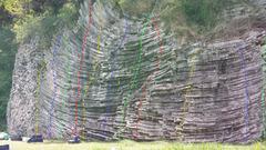 Rock Climbing Photo: Gunko Wall - right A- La Frontera 5.7 B- End of Ra...