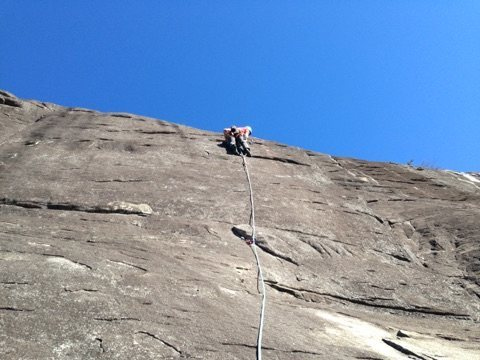 Rock Climbing Photo: moving above the crux on the first ascent.