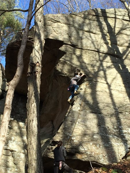 Dean starting up the arete.