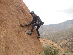 """Rock Climbing Photo: Underclinging the flake on """"Rhinestone Cowboy..."""