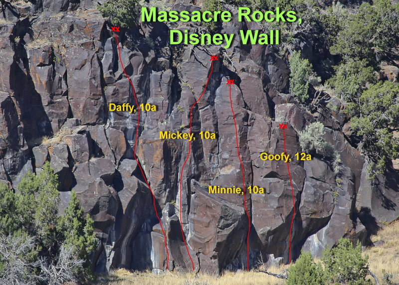 Disney Wall topo.  Routes Legend of the Fall, 11d@SEMICOLON@ and Samurai Warrior, 12c are about 90 feet to the left and slightly up hill.